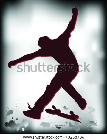 Silhouette jump skate in the mud, vector