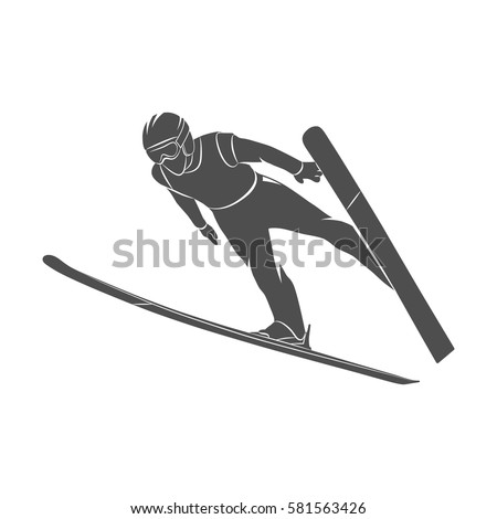 silhouette jumping skier on a