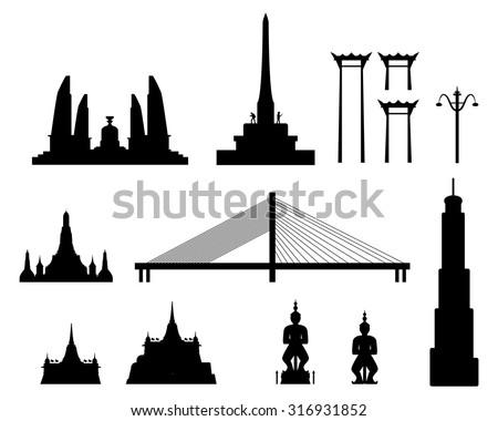 Silhouette landmark buildings in Bangkok, Thailand