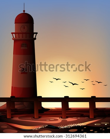 silhouette lighthouse by the