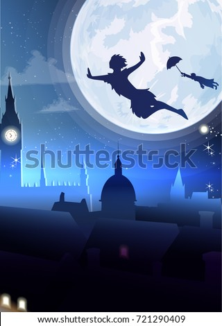 Silhouette little boy flying.Fullmoon night city background vector
