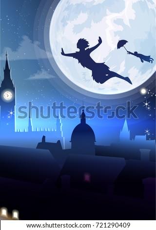 silhouette little boy flying