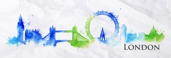 Silhouette London city painted with splashes of watercolor drops landmarks in a blue green colors