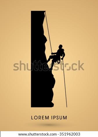 silhouette man climbing on a