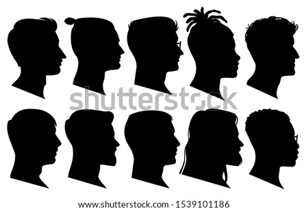 Silhouette man heads in profile. Black face outline avatars, professional male profiles anonymous portraits with hairstyle, vector facing shadow isolated set