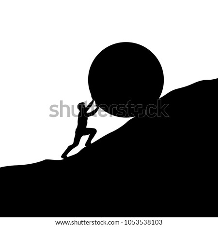 silhouette man pushing up hill