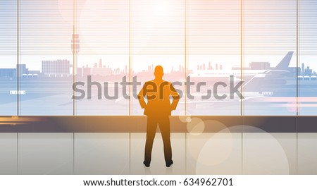 Silhouette Man Waiting For Arrival In Airport Hall Departure Terminal Interior Check In Flat Vector Illustration