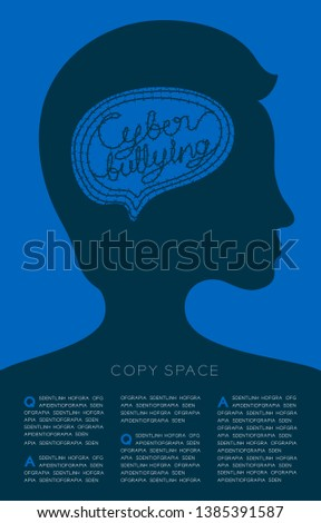 Silhouette man with barbed wire brain and cyber bullying text, Social network victim concept, poster or flyer template layout design illustration isolated on violet background, with copy space