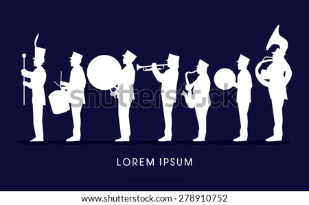 Silhouette Marching Band, parade, graphic vector.