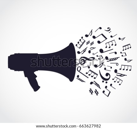 silhouette megaphone with music