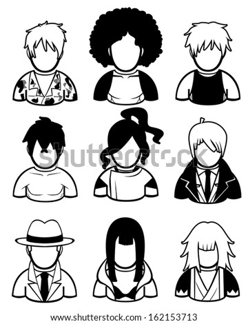 silhouette men icon set in