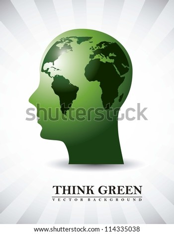 silhouette men with map, think green. vector illustration