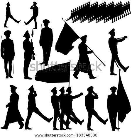 silhouette  military people