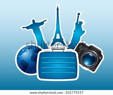 silhouette monuments with suitcase and camera background. vector