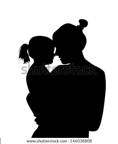 silhouette mother with a baby