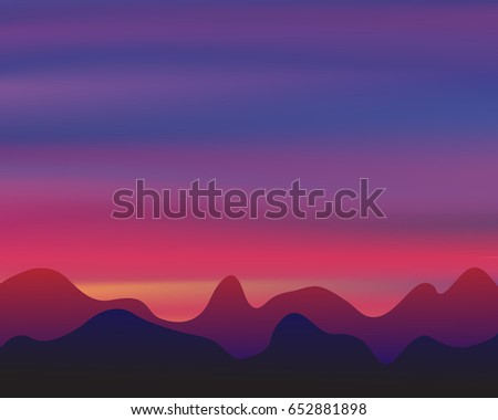 Silhouette mountain on sunset background, twilight concept, vector