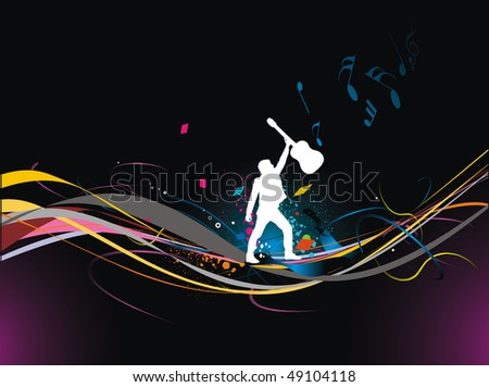 silhouette music men play a guitar with color full wave line background, Vector Illustration, No mesh in this Vector