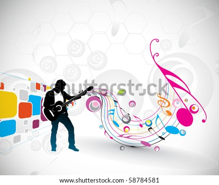 silhouette music men play a guitar with color wave line background, Vector Illustration