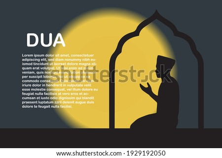 Silhouette muslim man pray with make dua with blurring glowing moon background. Stok fotoğraf ©