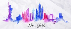Silhouette New york city drawing with splashes of watercolor drops landmarks in blue violet tones