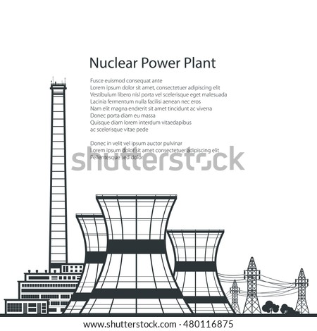 silhouette nuclear power plant
