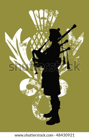 Silhouette of a bagpiper wearing a scottish kilt