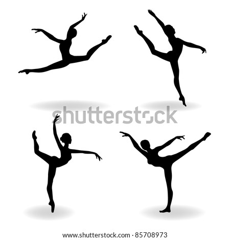 silhouette of a  ballerina, vector illustration