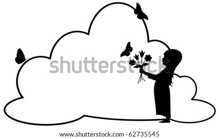 stock vector : silhouette of a bare foot girl with long hair holding flowers