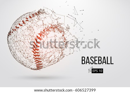 Silhouette of a baseball ball. Dots, lines, triangles, text, color effects and background on a separate layers, color can be changed in one click. Vector illustration