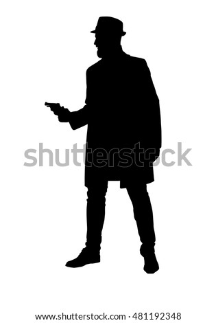 silhouette of a bearded man in