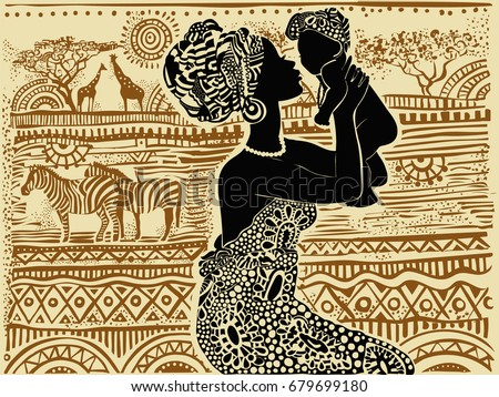 Silhouette of a beautiful African black woman with a baby in her arms