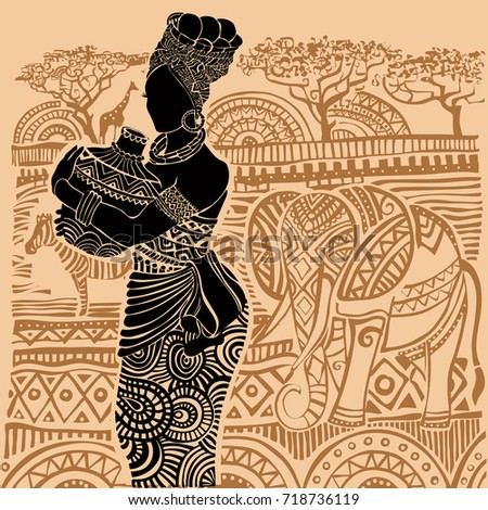 Silhouette of a beautiful African woman in the background of an African landscape
