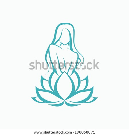 Silhouette of a beautiful young girl and lotus Vector