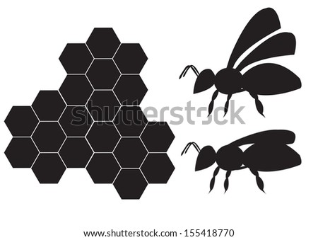 silhouette of a bee and