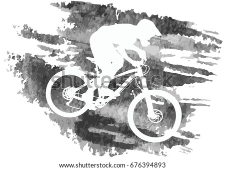 Bike Trail On A Mountain Vector Download Free Vector Art Stock