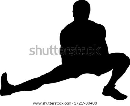 Silhouette of a boy doing the Cossack squat exercise. Vector illustration.  Foto stock ©