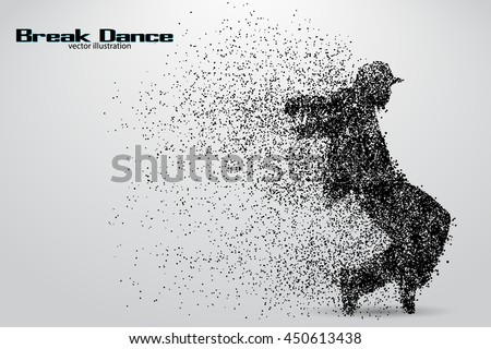 Silhouette of a break dancer from particles. Background and text on a separate layer, color can be changed in one click. Break dance