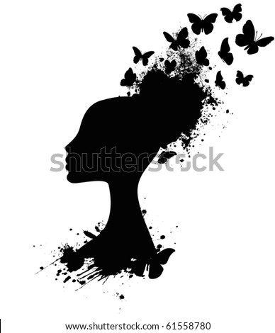 Silhouette of a Butterfly Queen, Profile - stock vector