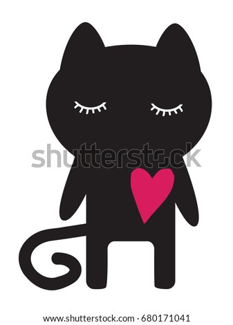 silhouette of a cat with a red