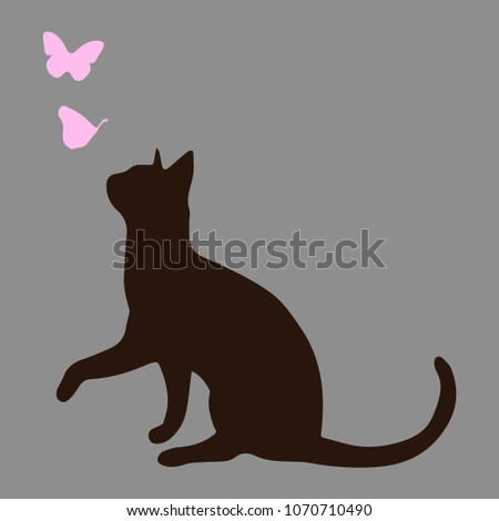 silhouette of a cat with pink