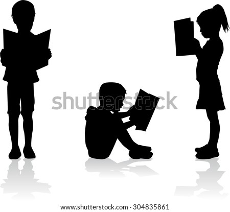 silhouette of a child reading a