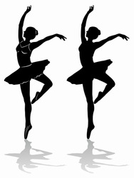 silhouette of a classic ballet dancer, black and white drawing, white background