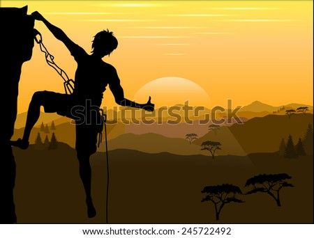 silhouette of a climber on a