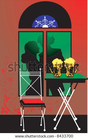 Silhouette of a couple dancing behind a window with beer glasses in table