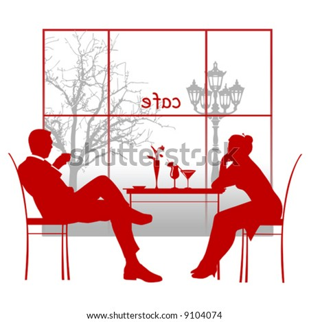 Silhouette of a couple in the cafe. Vector illustration
