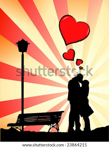 Silhouette of a couple kissing near a bench. Some red hearts grows from them