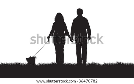 silhouette of a couple walking their dog - stock vector