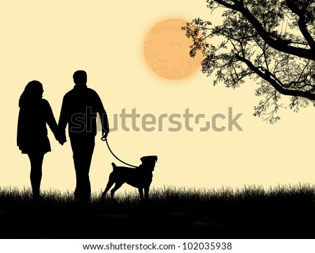 Silhouette of a couple walking their dog on sunset, vector illustration