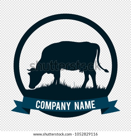 Silhouette of a cow standing on the grass. Logo design on a transparent background.
