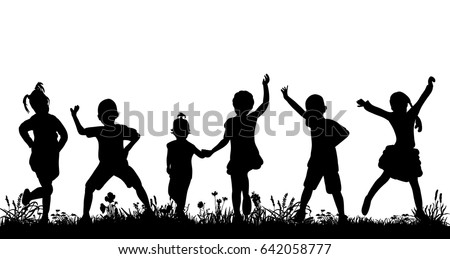 silhouette of a crowd of